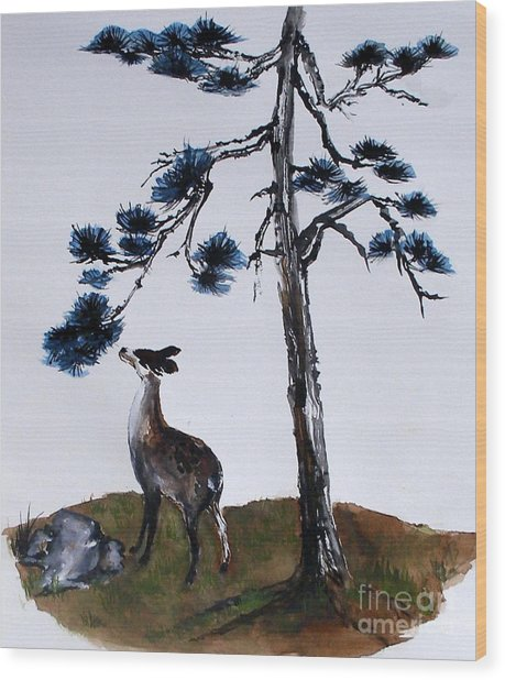 Deer And Pine Wood Print