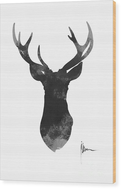 Deer Antlers Watercolor Painting Art Print Wood Print
