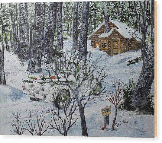 Deer Camp 141114 Wood Print