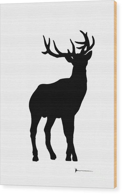 Deer Figurine Silhouette Watercolor Art Print Painting Wood Print