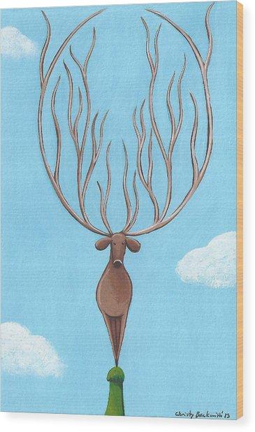 Deer Nursery Art Wood Print by Christy Beckwith
