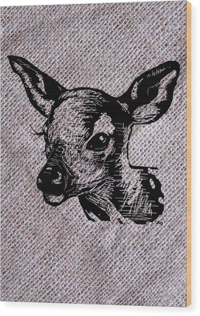 Deer On Burlap Wood Print