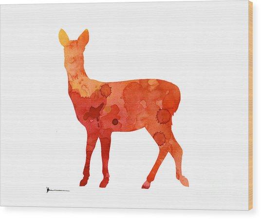 Deer Portrait Artprint Watercolor Painting Wood Print