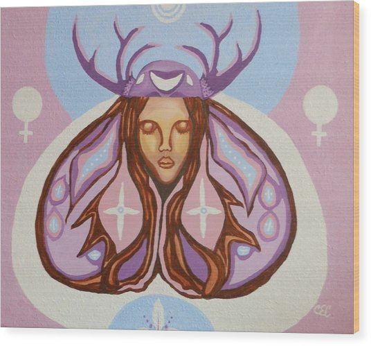 Deer Woman Wood Print