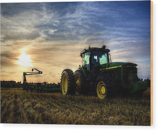 Deere Sunset Wood Print