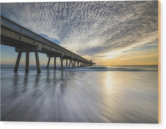 Deerfield Beach Pier Sunrise - Boca Raton Florida Wood Print