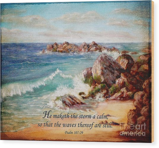Deerfield Wave Psalm 107 Wood Print