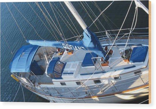 Defiant Sailboat Blues Wood Print
