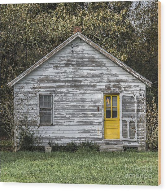 Defiant Yellow Door - Square Wood Print