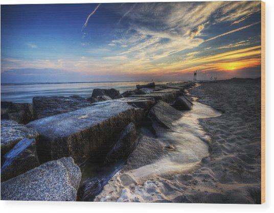 Delaware Sunrise At Indian River Inlet Wood Print