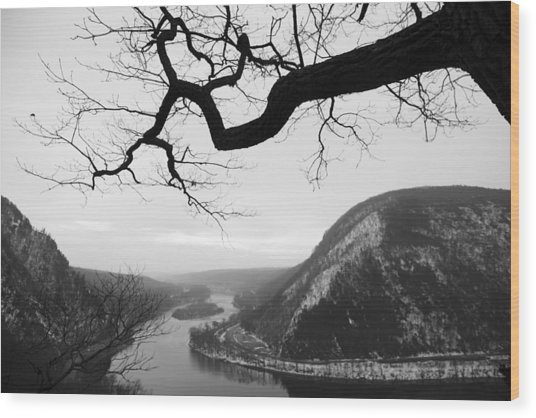 Delaware Water Gap In Winter Wood Print