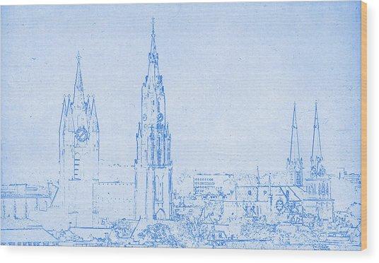 Delft Netherlands Blueprint Wood Print