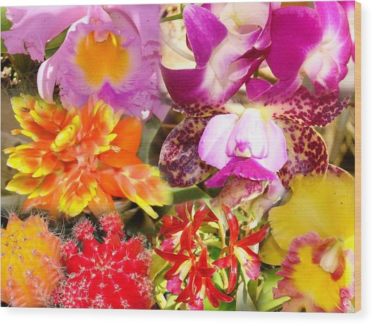 Delicate And Rustic Flowers Wood Print by Van Ness