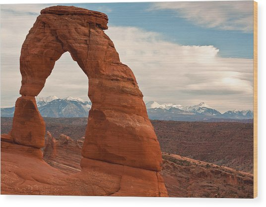 Delicate Arch And The La Sal Mountains Wood Print