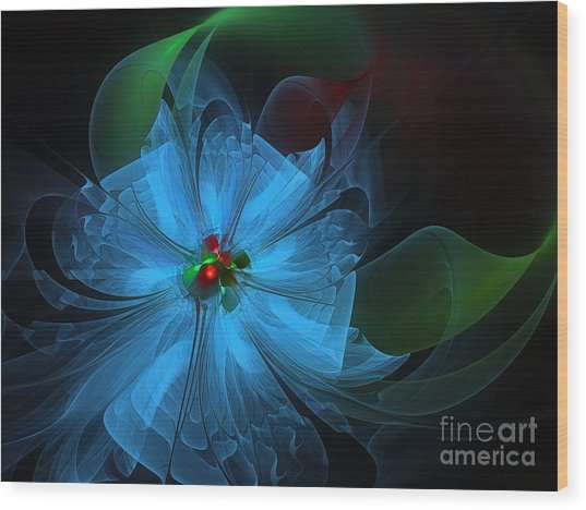 Delicate Blue Flower-fractal Art Wood Print