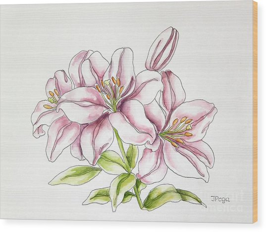 Delicate Lilies Wood Print