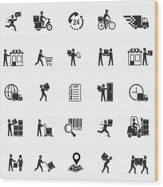Delivery Icons Wood Print by AlonzoDesign
