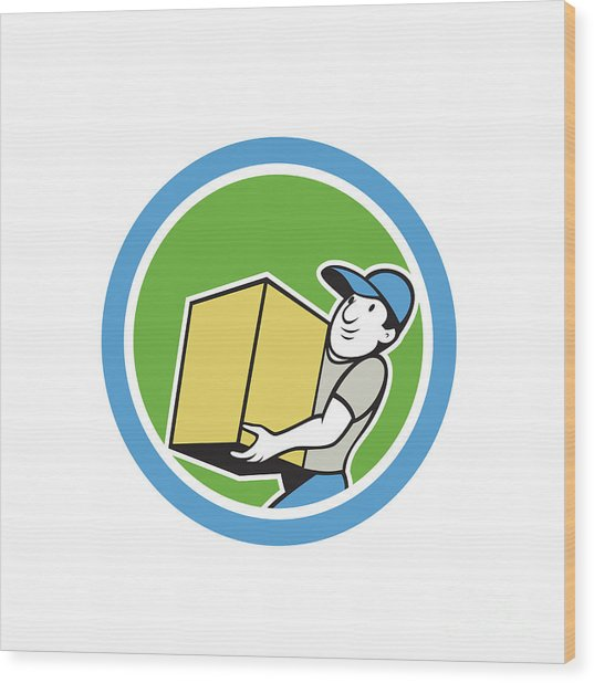 Delivery Worker Carrying Package Cartoon Wood Print by Aloysius Patrimonio