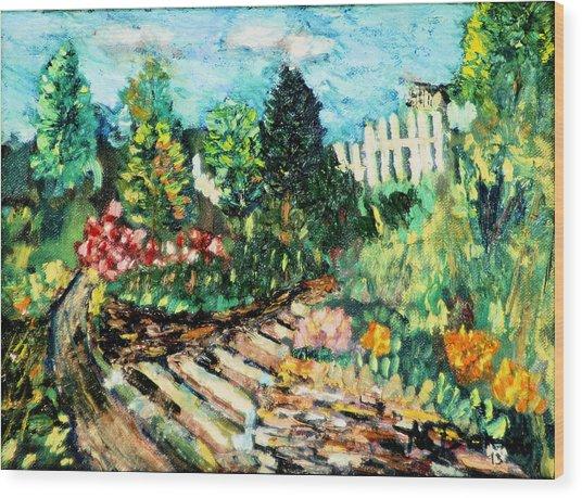 Delphi Garden Wood Print
