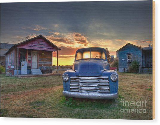 Wood Print featuring the photograph Delta Blue - Old Blue Chevy Truck In The Mississippi Delta by T Lowry Wilson