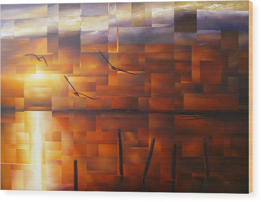Delta Sunset Wood Print by Laurend Doumba