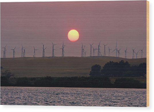 Delta Sunset Wood Print