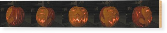 Wood Print featuring the sculpture Demented Mister Ullman Pumpkin 2 by Shawn Dall