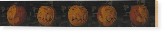 Demented Mister Ullman Pumpkin 3 Wood Print