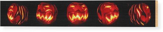 Demented Mister Ullman Pumpkin Wood Print