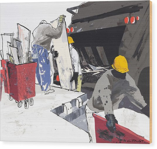 Demolition Crew Wood Print