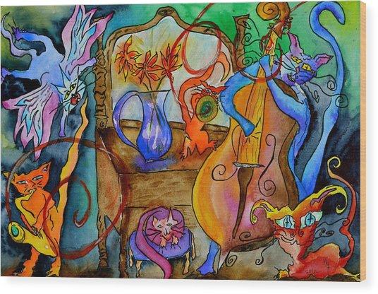 Demon Cats Wood Print