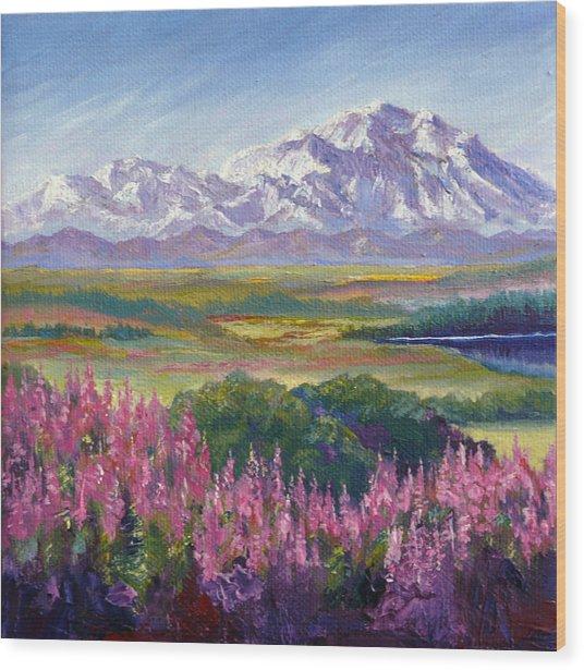 Denali And Fireweed Alaska Wood Print