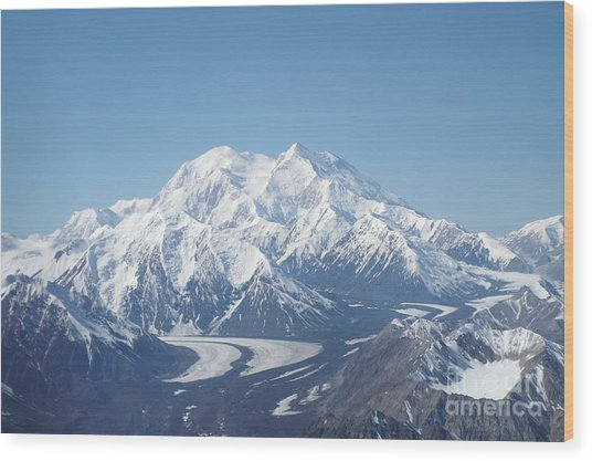 Denali From The Air Wood Print