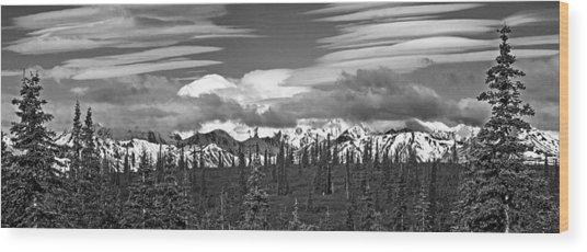 Denali In Clouds Wood Print