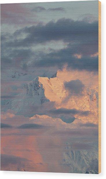 Denali National Park, Alaska, Alpenglow Wood Print