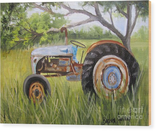 Dena's Blue Tractor Wood Print