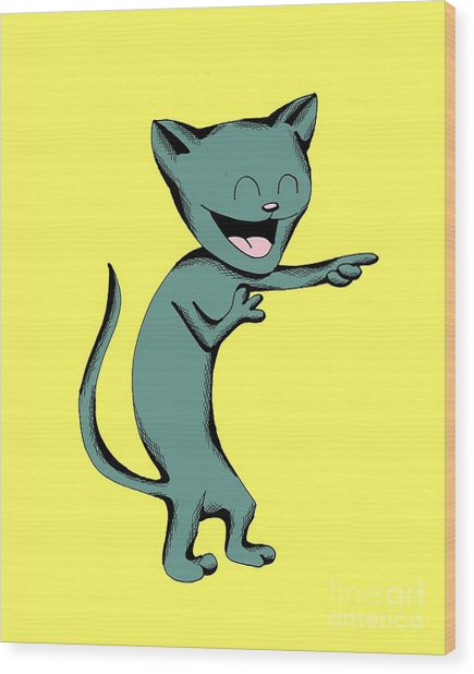 Denim Cat Laughing Wood Print