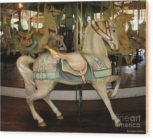 Wood Print featuring the photograph Dentzel Menagerie Carousel Horse by Rose Santuci-Sofranko