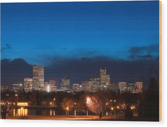 Denver At Twilight  Wood Print