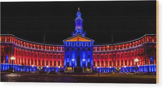 Denver City And Country Building In Bronco Blue And Orange Wood Print