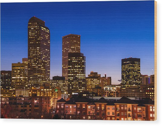 Denver Colorado Skyline At Blue Hour Mar 2013 Wood Print