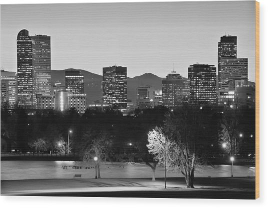 Denver Colorado Skyline In Black And White Wood Print