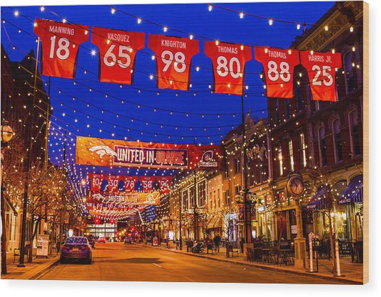 Denver Larimer Square Blue Hour Nfl United In Orange Wood Print
