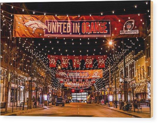 Denver Larimer Square Nfl United In Orange Wood Print