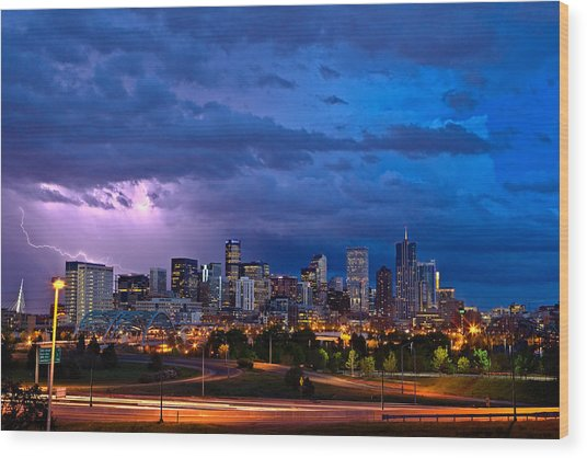 Denver Skyline Wood Print