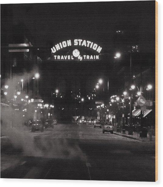 Denver Union Station Square Image Wood Print
