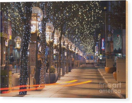 Denver's 16th Street Mall At Christmas Wood Print