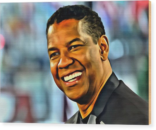 Denzel Washington Wood Print