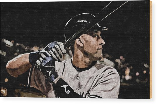 Derek Jeter On Canvas Wood Print