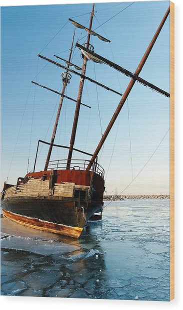 Derelict Faux Tall Ship Wood Print